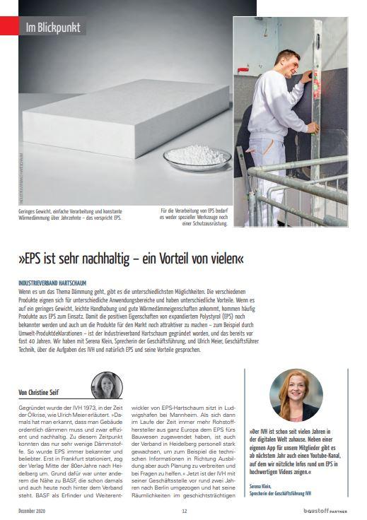 IVH im Blickpunkt-Porträt bei BaustoffPartner