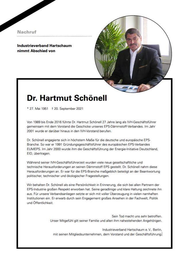 Industrieverband Hartschaum nimmt Abschied von Dr. Hartmut Schönell
