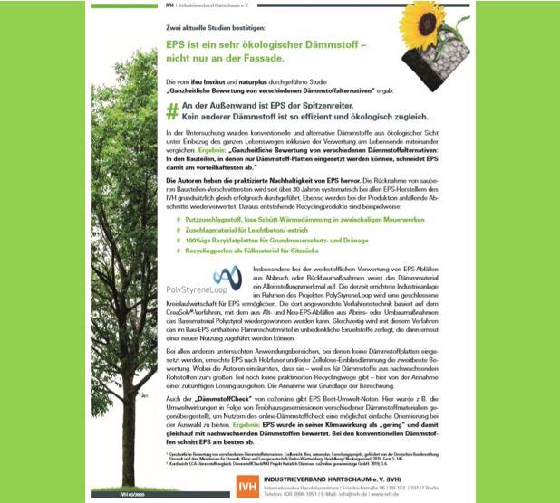 Zwei aktuelle Studien bestätigen: EPS ist ein sehr ökologischer Dämmstoff – nicht nur an der Fassade