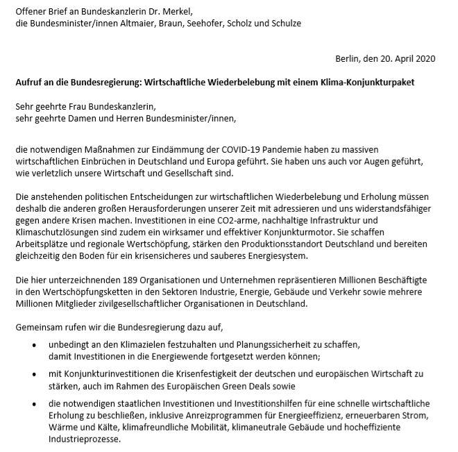 IVH unterzeichnet offenen Brief an Bundeskanzlerin und Ministerien zum Klima-Konjunkturpaket