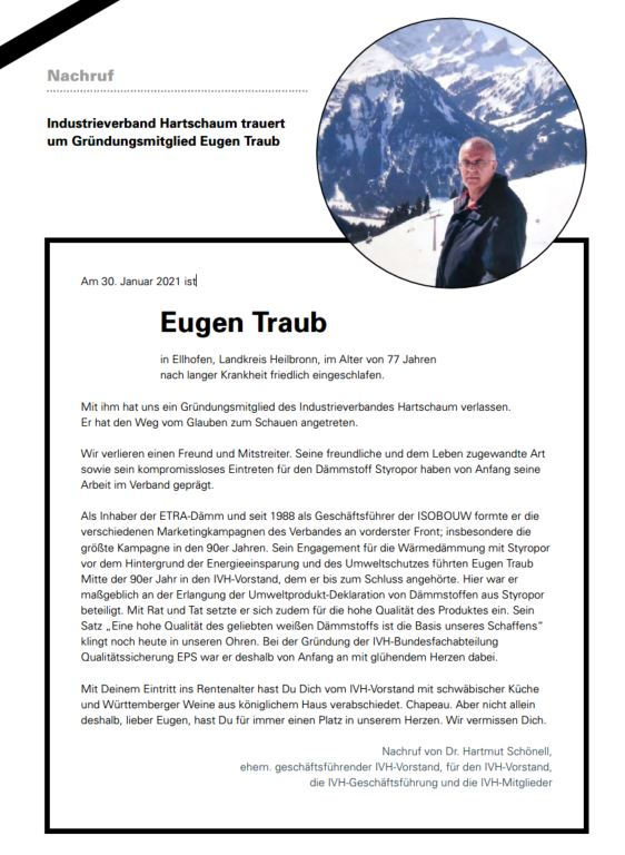Wir trauern um IVH-Gründungsmitglied Eugen Traub